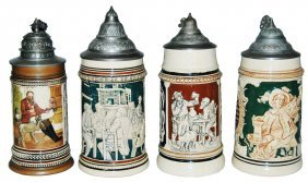Group of Four Mint Pottery Steins