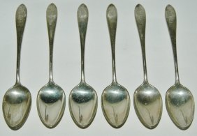 "Gorham Sterling Silver 6 Teaspoon ""Plain"" Monogram 1933"