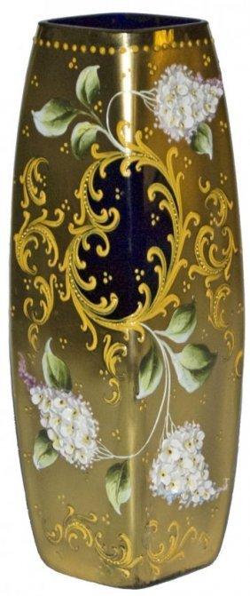 Moser Layered Flower square Cobalt Glass Vase