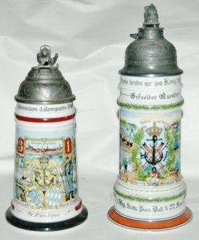 Pair of Post War Train Regimental Steins