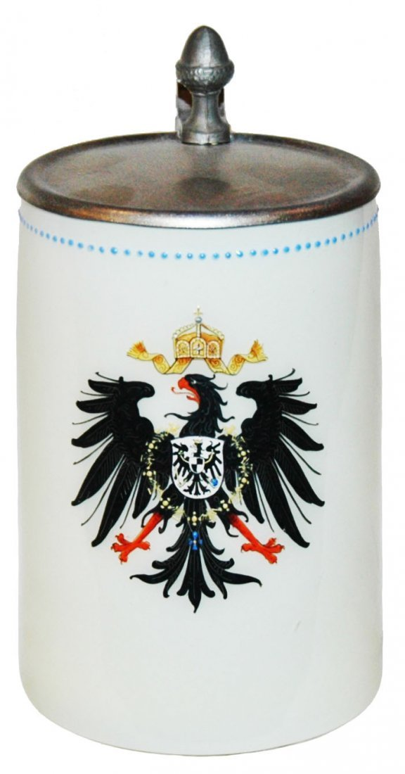 Overlay Glass Stein w Enamel Imperial Eagle