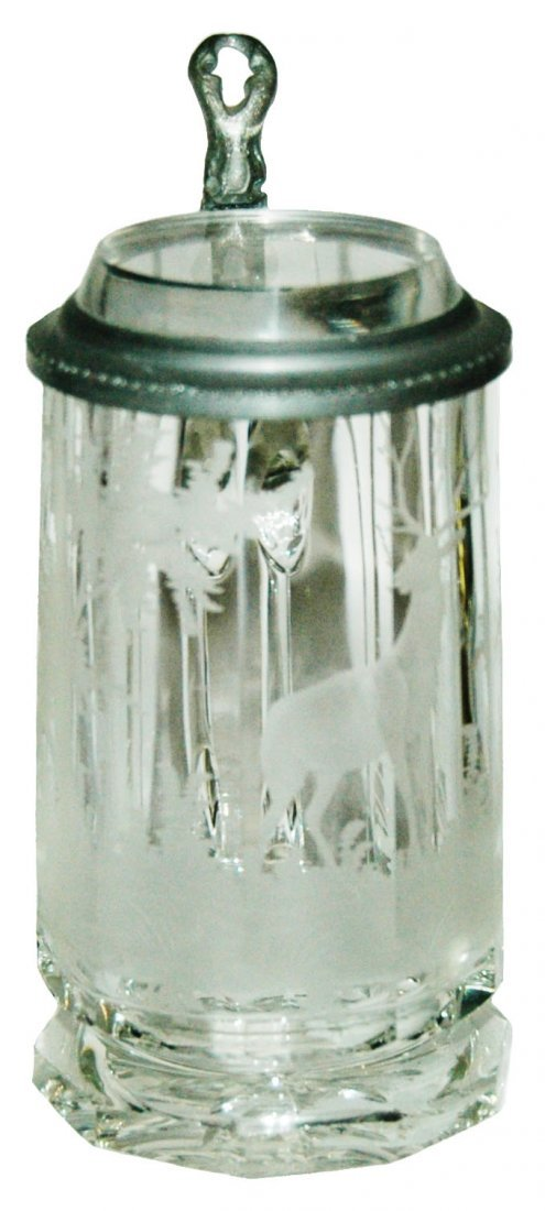 Stag & Forest Facet Cut Glass 1/6L Stein w Inlay