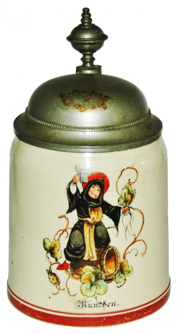Munich Child on Barrell 1/4L Pottery Stein