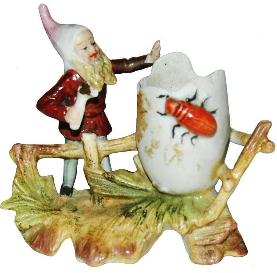 Dwarf w Hammer Egg & Insect Porcelain Figure