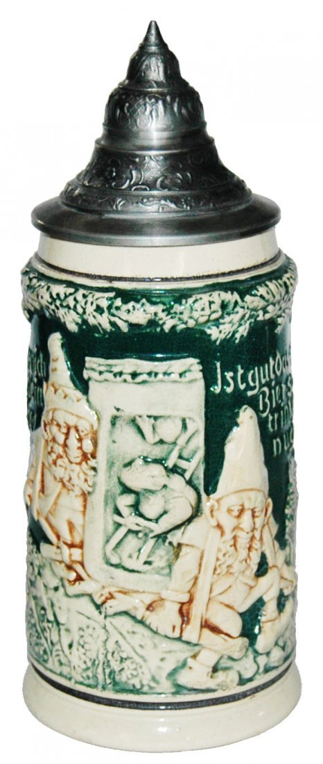 Dwarfs Carry a Frog Pottery Relief Stein