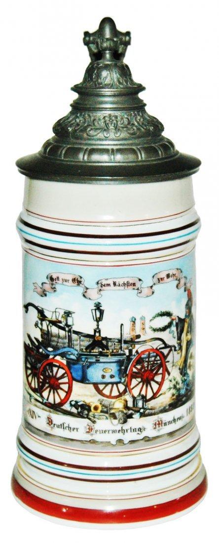 1893 Early Fire Truck Porcelain 1L Stein