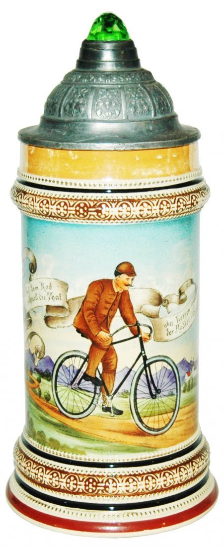 Man on Early Bicycle Stein
