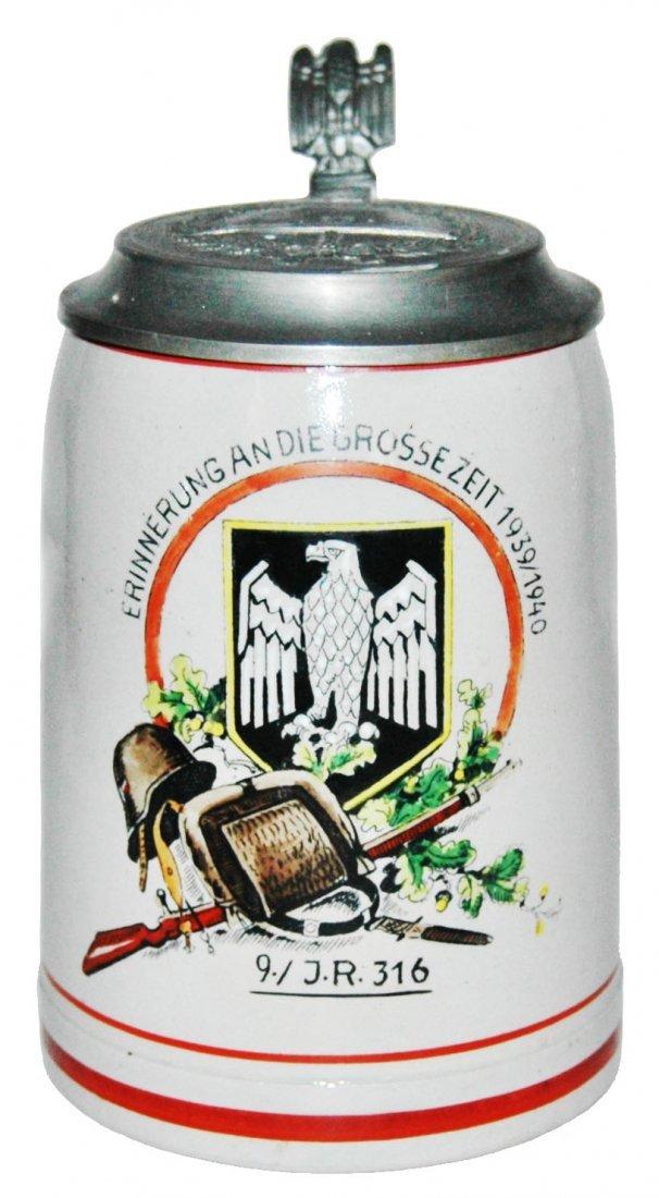 Third Reich Stoneware Stein w Relief Helmet Lid