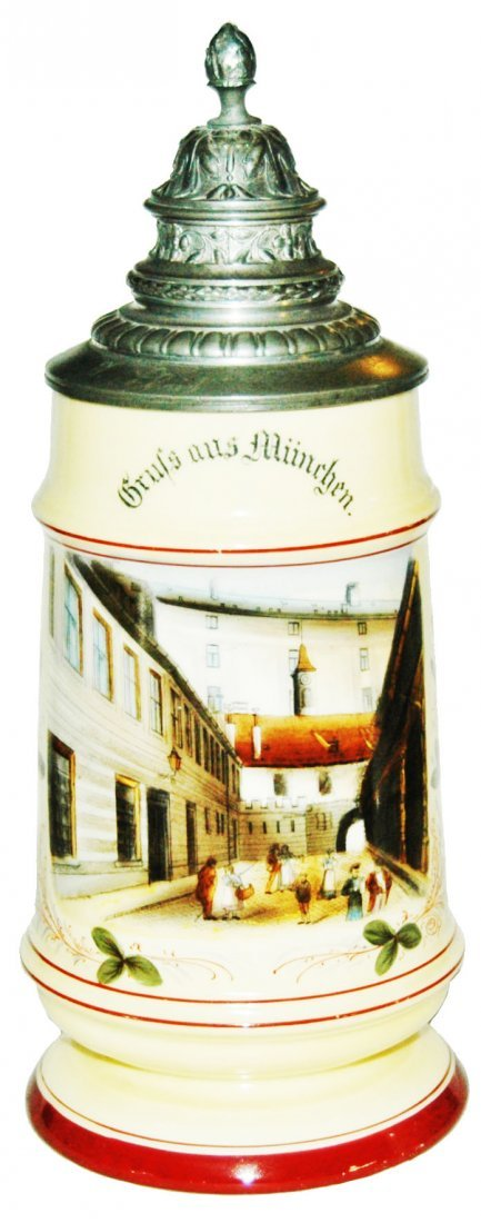Munich Courtyard 1L Stein w Fancy Relief  Lid