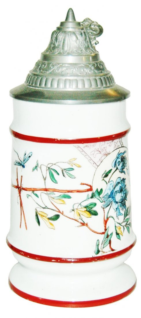 Colorful Floral Design Pocelain Stein