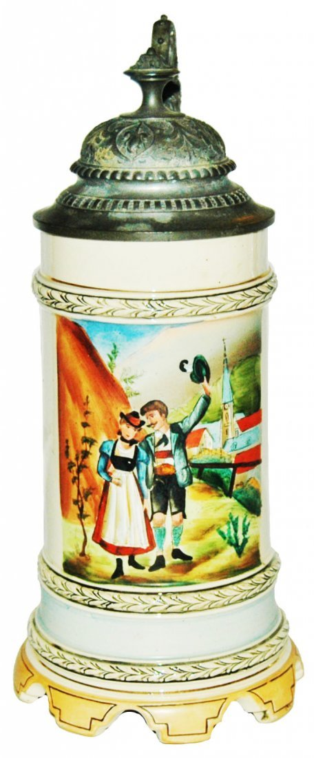 Scalloped Music Box Base Alpine Couple Stein