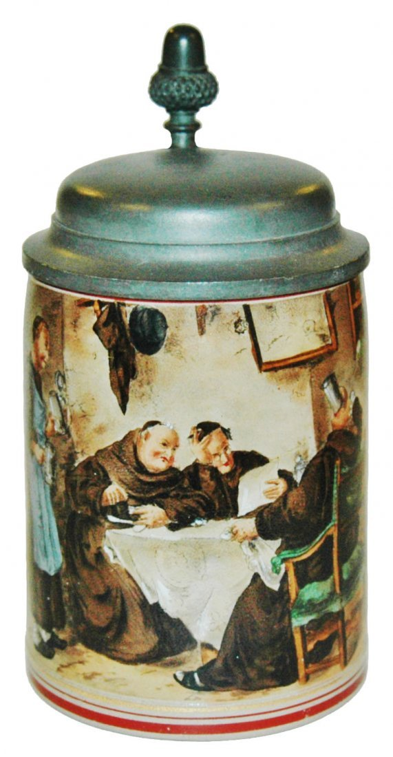 Monks at a Table Stoneware Stein