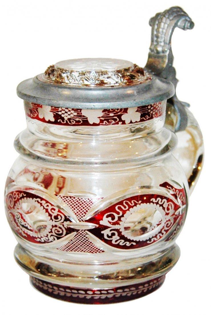 Wheel-cut & Decorated  Glass Stein w Inlay Lid