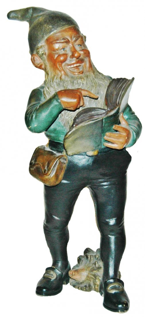 "Bernard Bloch Terracotta Dwarf w Book 14""  Figure"