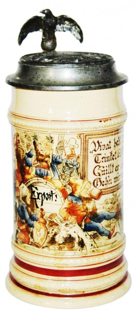 Drinking Dwarfs Mettlach Stein w Relief Target Lid