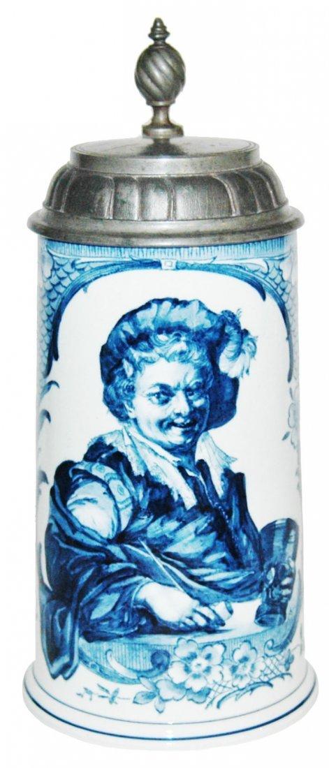Cavalier in Blue w Floral Mettlach Stein