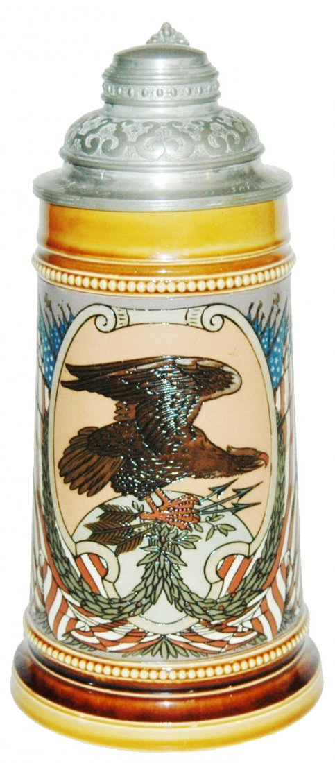American Eagle & Flags Mettlach Stein