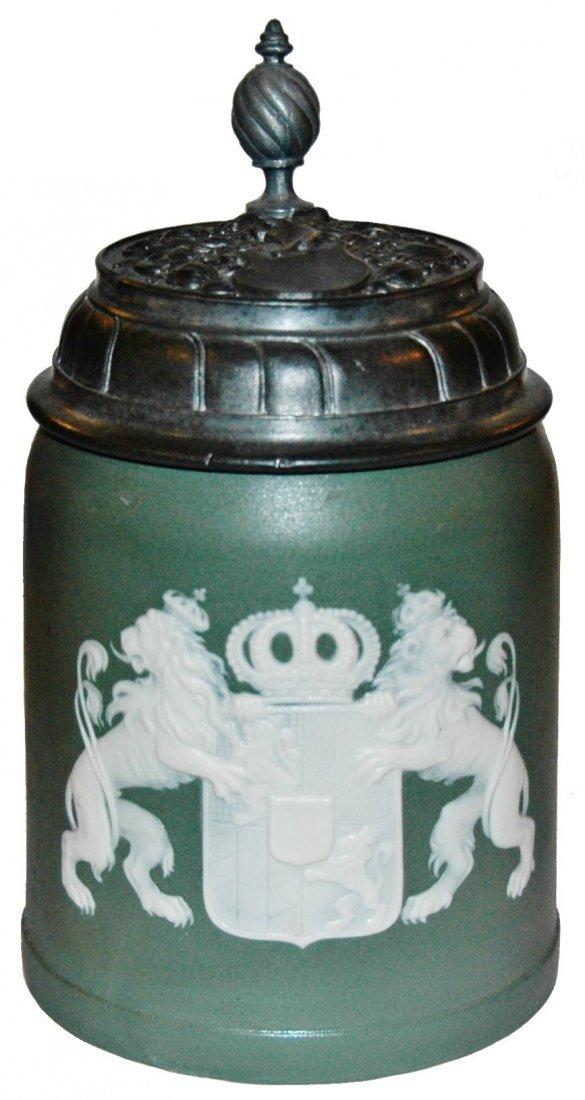 Bavarian Shield Cameo Mettlach Stein w Fancy Lid