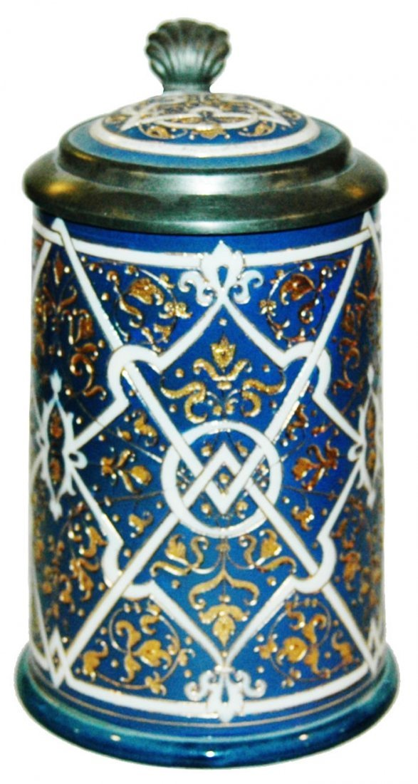 Geometric Design Mettlach Mosaic Stein w Inlay
