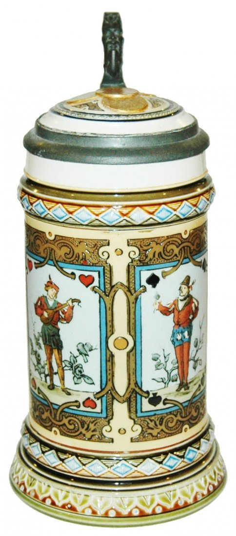 Mettlach Playing Cards Etched Stein w Inlay