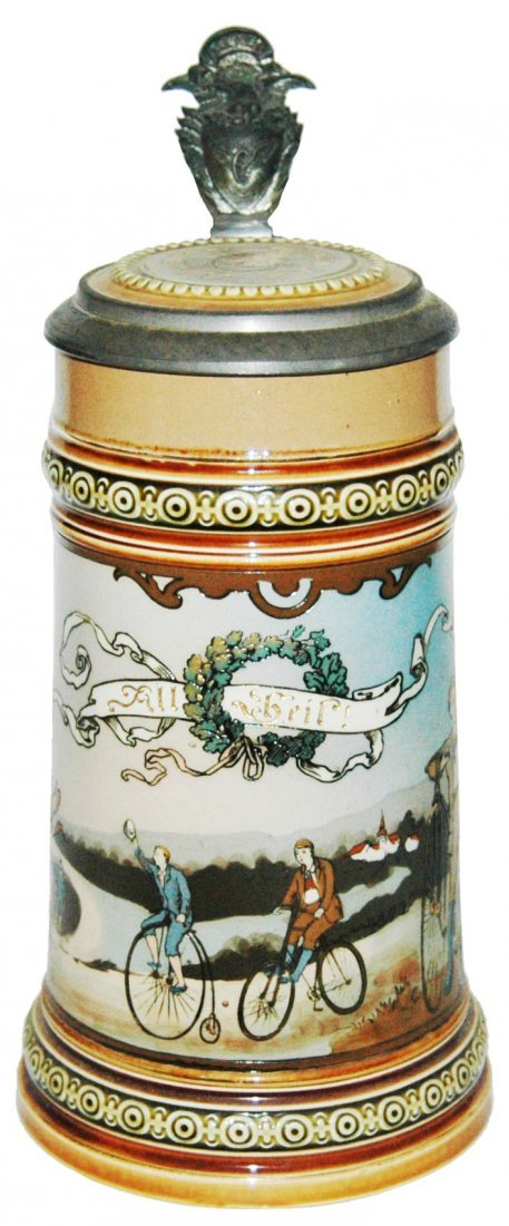 Bicycle Race Mettlach Stein w Inlay Lid