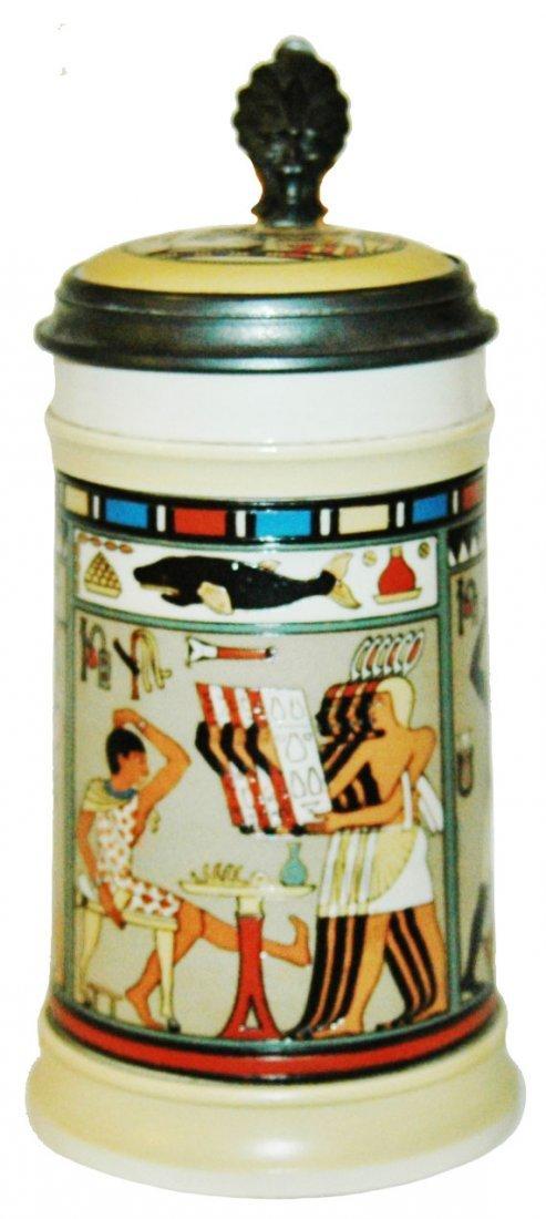 Egyptian Scene Mettlach Stein w Inlay Lid
