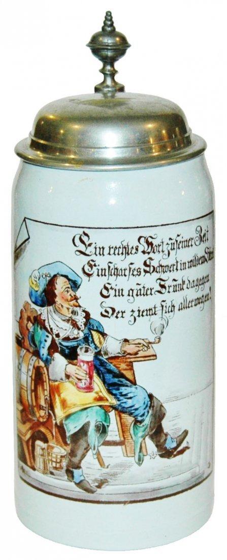 Mettlach 1L Cavalier & Verse Stein