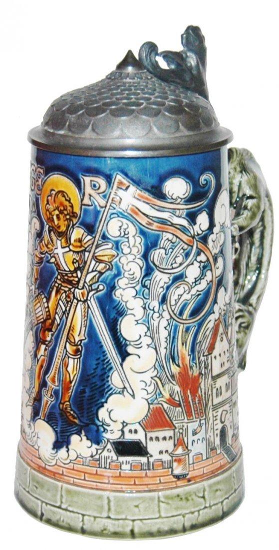 St Florian Mettlach Dragon Handle Etched Stein