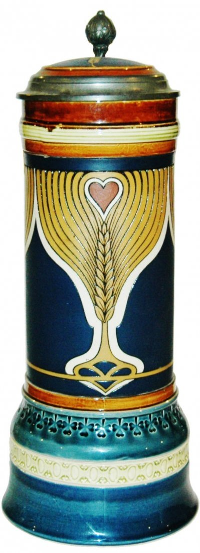 Art Nouveau Hearts & Wheat 2L Mettlach Stein