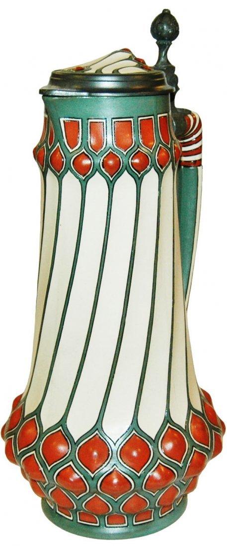 4L Art Deco Geometric Etched Mettlach w Inlay Lid
