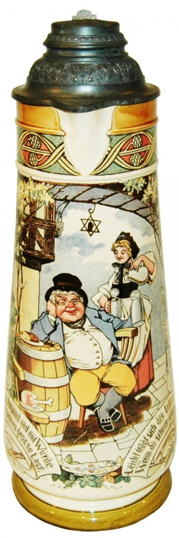 5L Fat Man & Barmaid Mettalch Stein w Fancy Lid