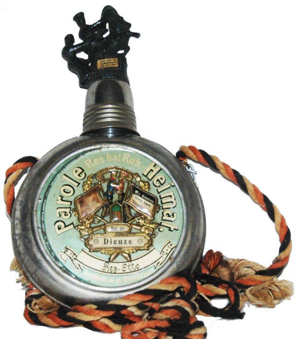 Regimental Flask w Match Safe & 3D Soldier Lid