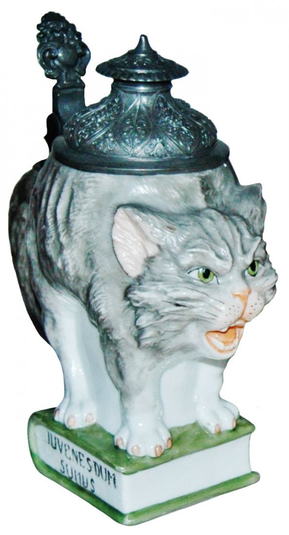 Cat on a Book Bohne Porcelain Character Stein