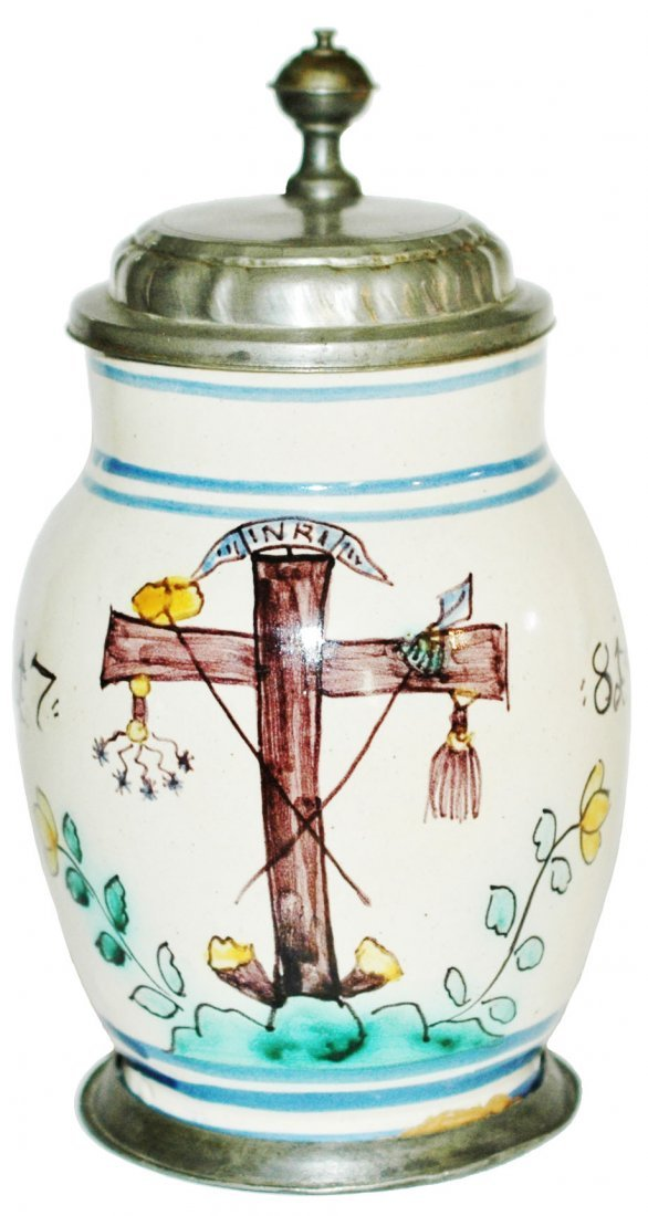 Faience Stein dated 1781 w Jesus Empty Cross