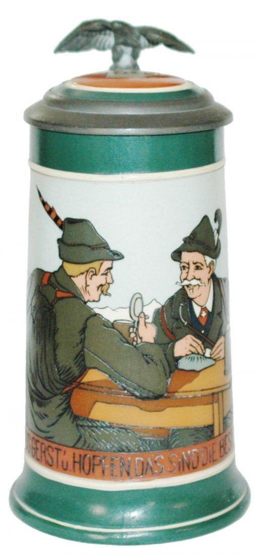 Alpine Men Mettlach Stein w Inlay Lid