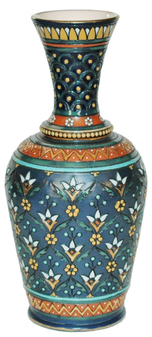 """Mosaic Floral Mettlach 8-1/4"""" Vase"""
