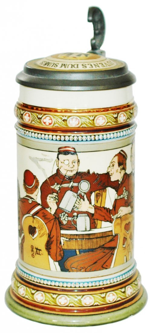 Dueling Fraternal Students Mettlach Stein w Inlay