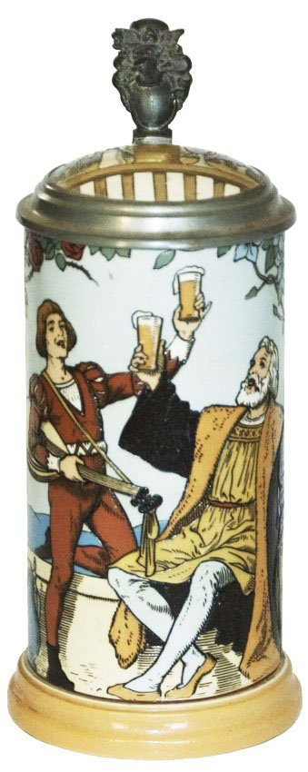 Musician & Royal Man Mettlach Etched Stein w Inlay