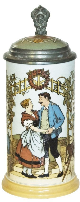 Dancing Couple Mettlach Stein w Inlay Lid