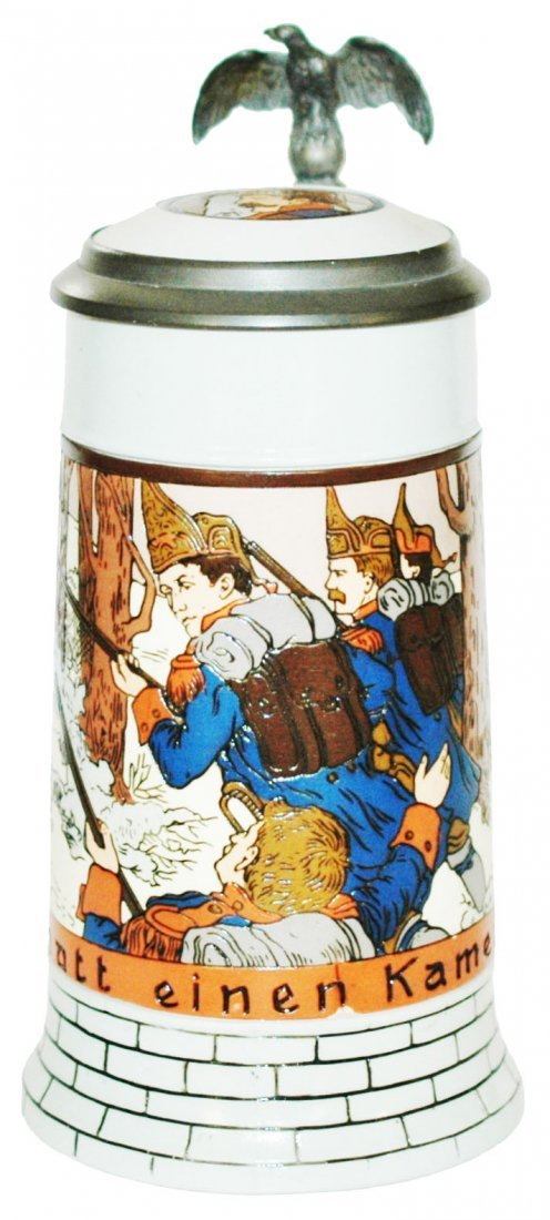 Soldiers Etched Mettlach Stein w Inlay Lid