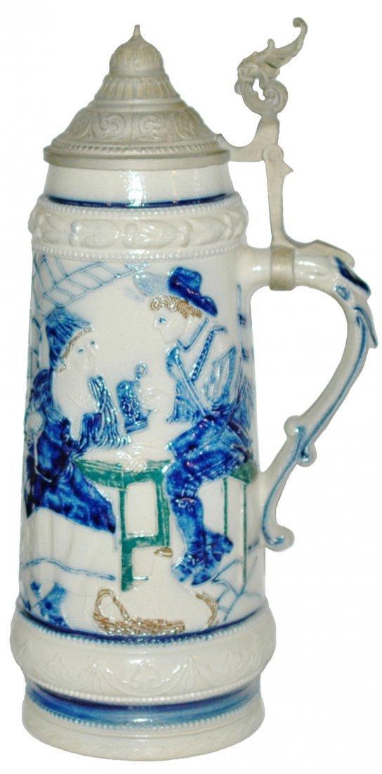 Three color Stoneware Whites Utica Couple