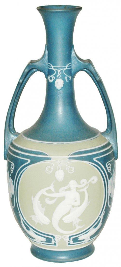 Mermaid & Dolphins Cameo Mettlach Vase