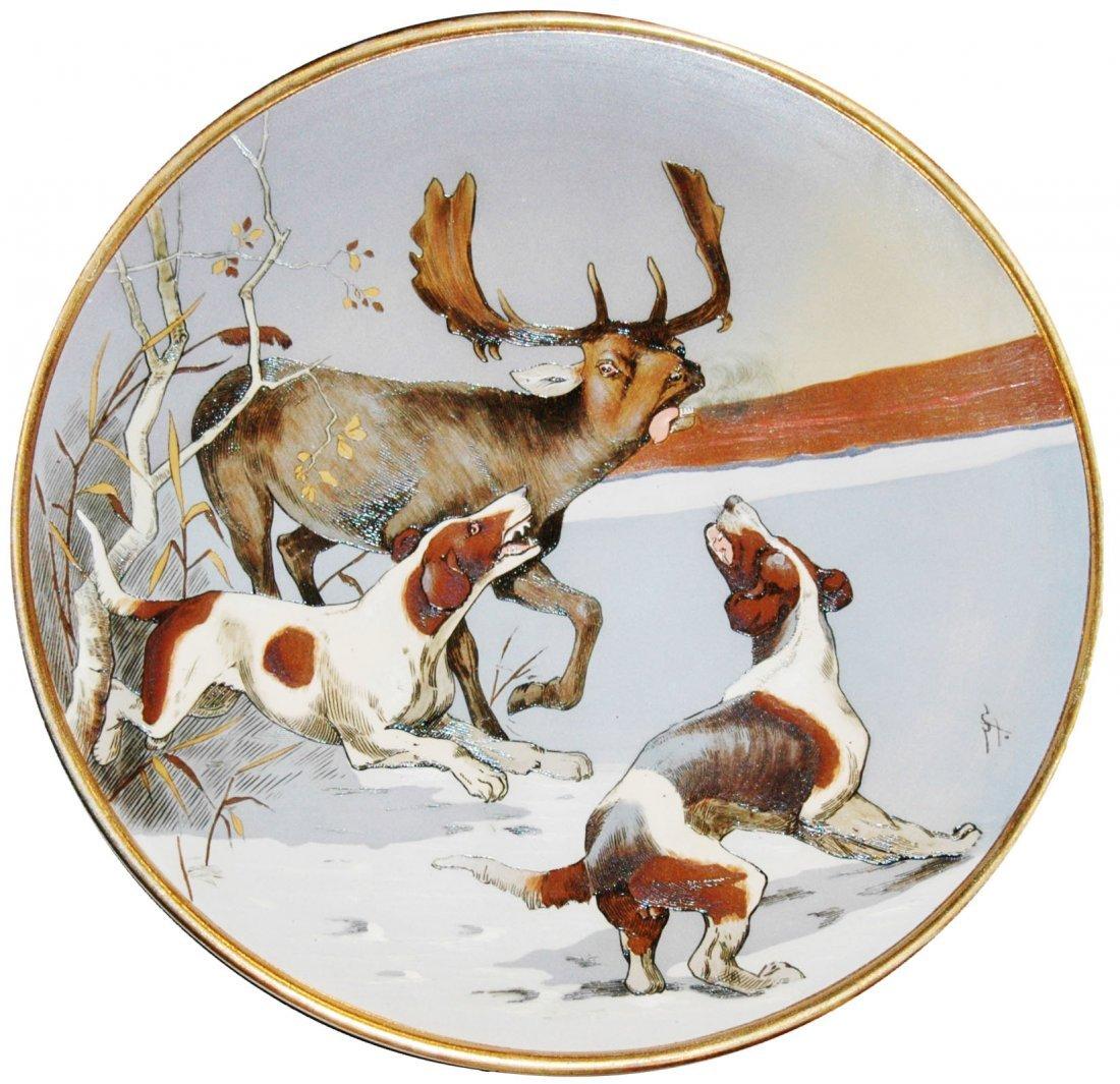 Dogs Attach Elk Mettlach Plaque Signed Stucke