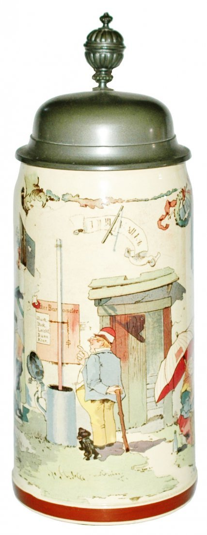 Schlitt Man w Beer Barometer Mettalch stein