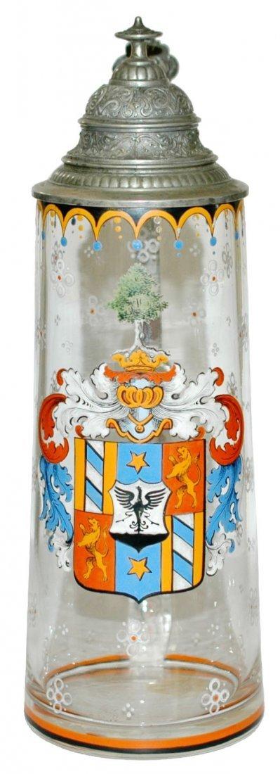 Enamel Heraldic Shield Green Glass Stein