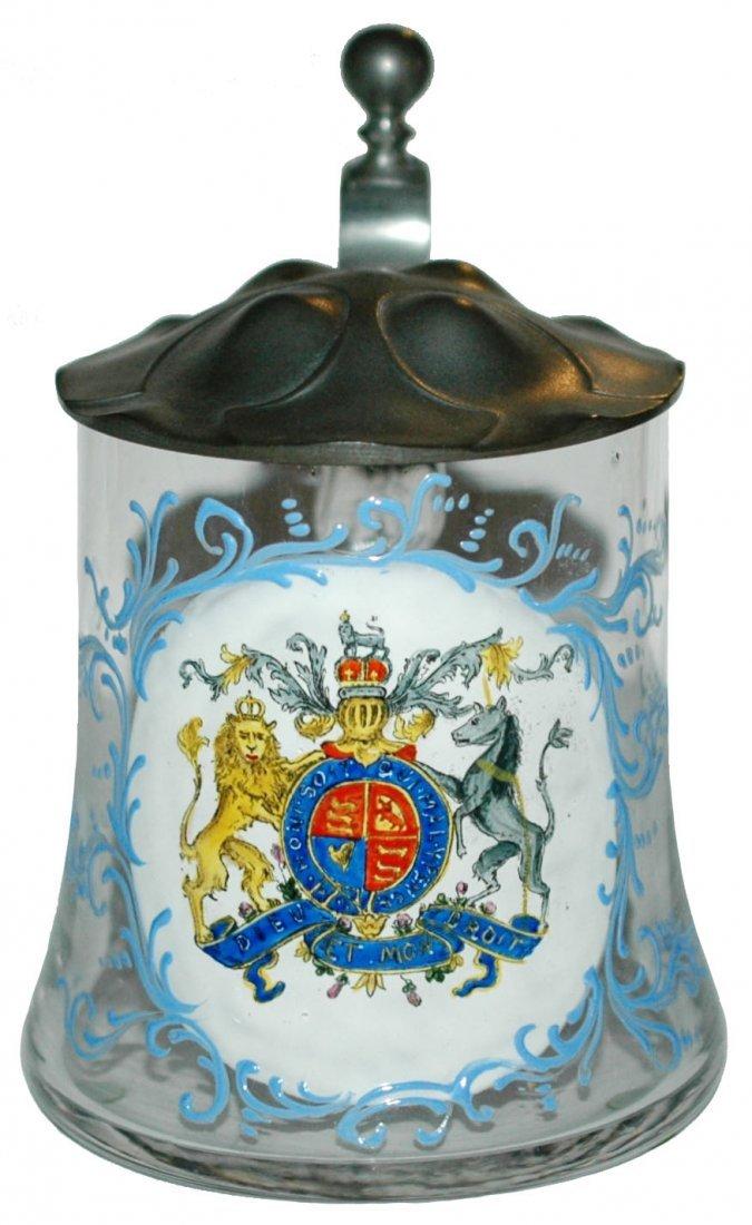 Shield of  UK Art Nouveau Pewter Lid Glass Stein