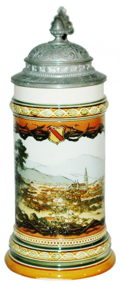 Frieburg Mettlach Stein w Fancy Pewter Lid