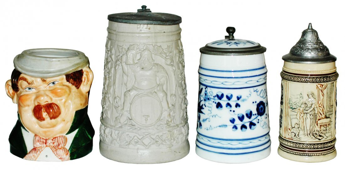 Lot of 4 Steins Character Stoneware,Porcelain, Cat