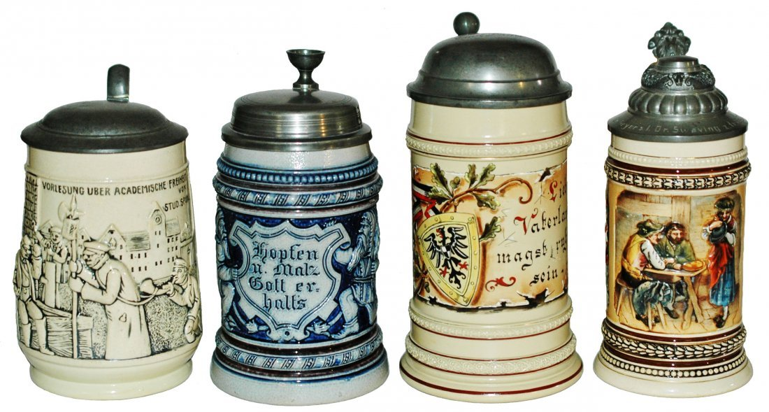 Lot of 4 Steins Pottery, Stoneware & Mettlach