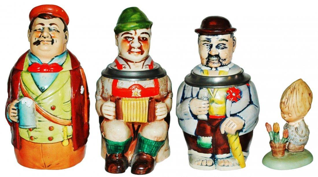 Lot of 4 Items- 3 Character Steins + Goebel Figure